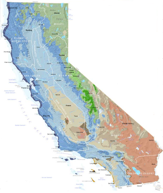 Map of California Climate and Topography Based on Modified Köppen Climate Classification System